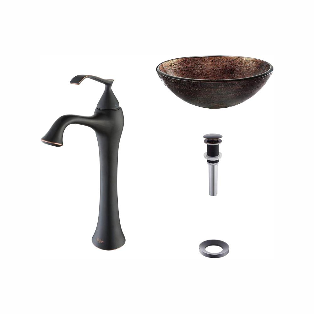 KRAUS Illusion Glass Vessel Sink in Brown with Ventus Faucet in Oil Rubbed Bronze