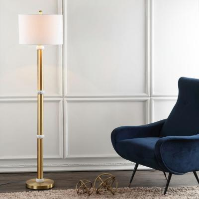 Gregory 60.5 in. Brass Gold/White Metal/Marble LED Floor Lamp