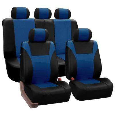 PU Leather 47 in. x 23 in. x 1 in. Racing Full Set Seat Covers