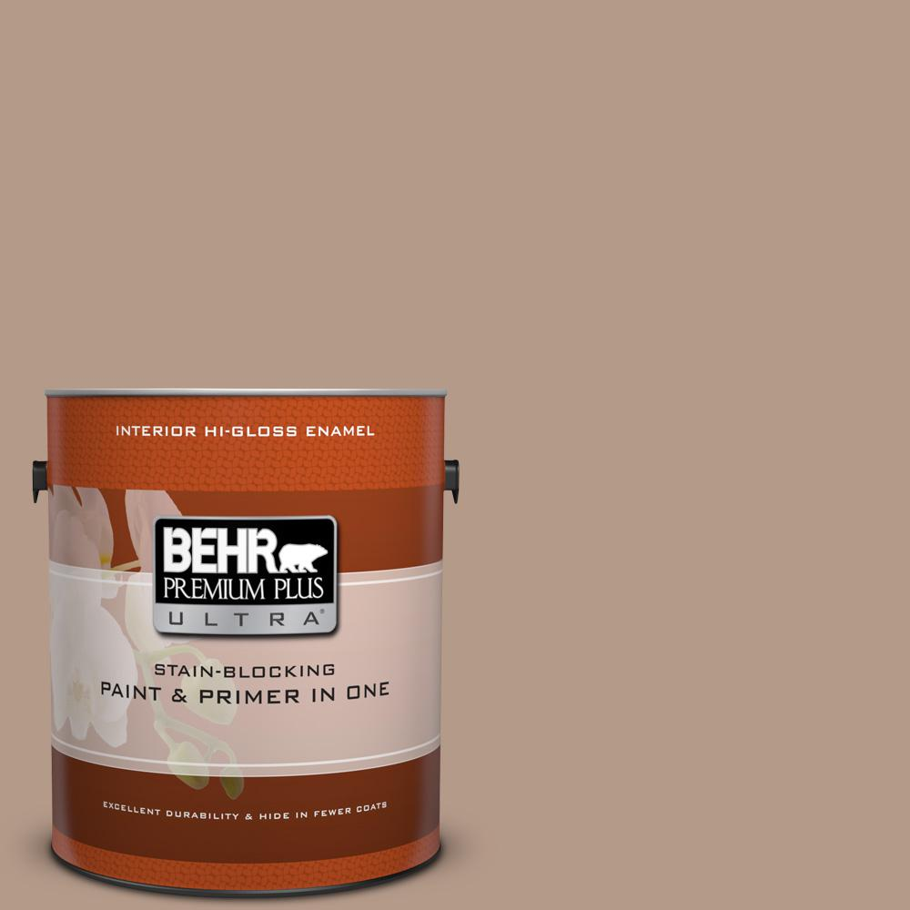 BEHR Premium Plus Ultra 1 gal. #pmd-77 Rich Taupe Hi-Gloss Enamel Interior Paint, Browns/Tans