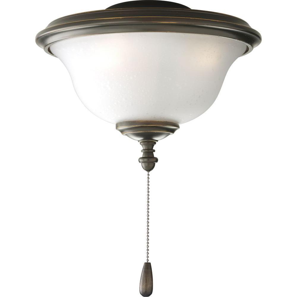 Progress Lighting Ashmore Collection 2-Light Antique Bronze Ceiling Fan Light