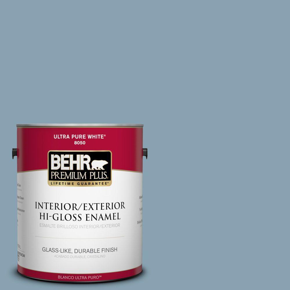 BEHR Premium Plus 1-gal. #T14-14 Cloisonne Blue Hi-Gloss Enamel Interior/Exterior Paint