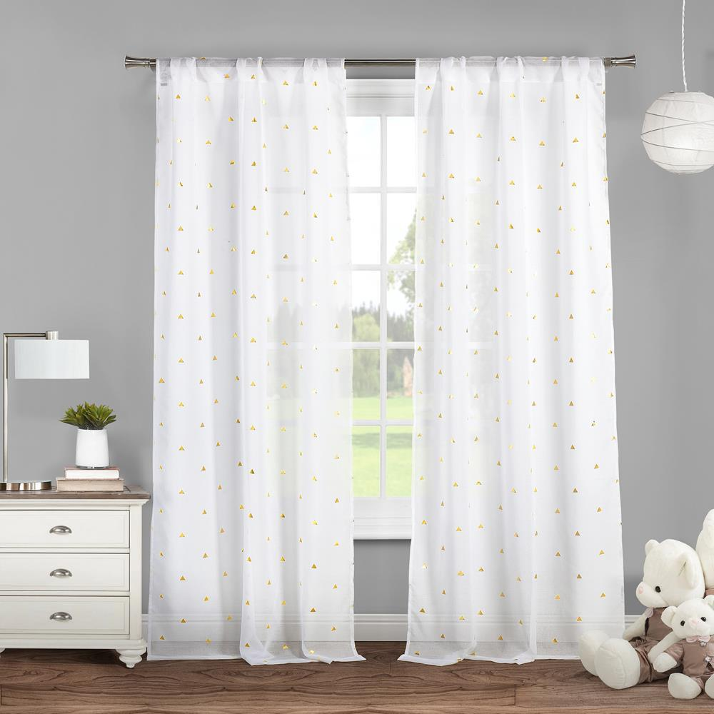 duck river trina 38 in x 84 in l polyester metallic curtain panel in white gold 2 pack trina. Black Bedroom Furniture Sets. Home Design Ideas