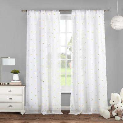 Trina 38 in. x 84 in. L Polyester Metallic Curtain Panel in White-Gold (2-Pack)