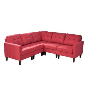 Delilah Mid-Century Modern 5-Piece Red Fabric Sectional Sofa Set