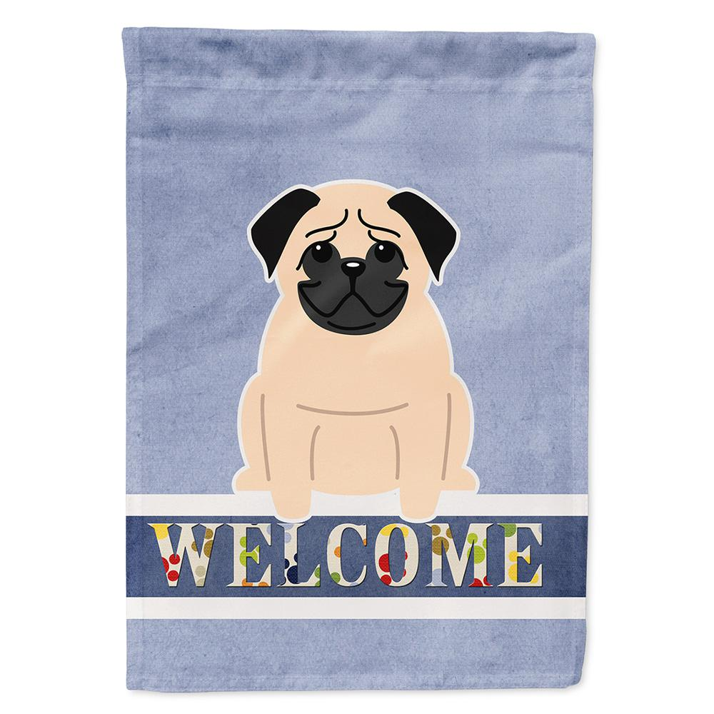 Caroline's Treasures 11 in  x 15-1/2 in  Polyester Pug Fawn Welcome 2-Sided  2-Ply Garden Flag