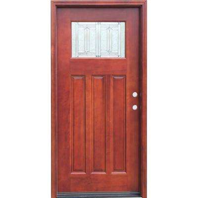Craftsman 1 Lite Stained Mahogany Wood Prehung Front Door with 6 in. Wall Series