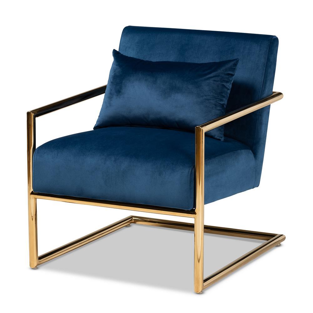 Mira Navy Blue Velvet Lounge Chair