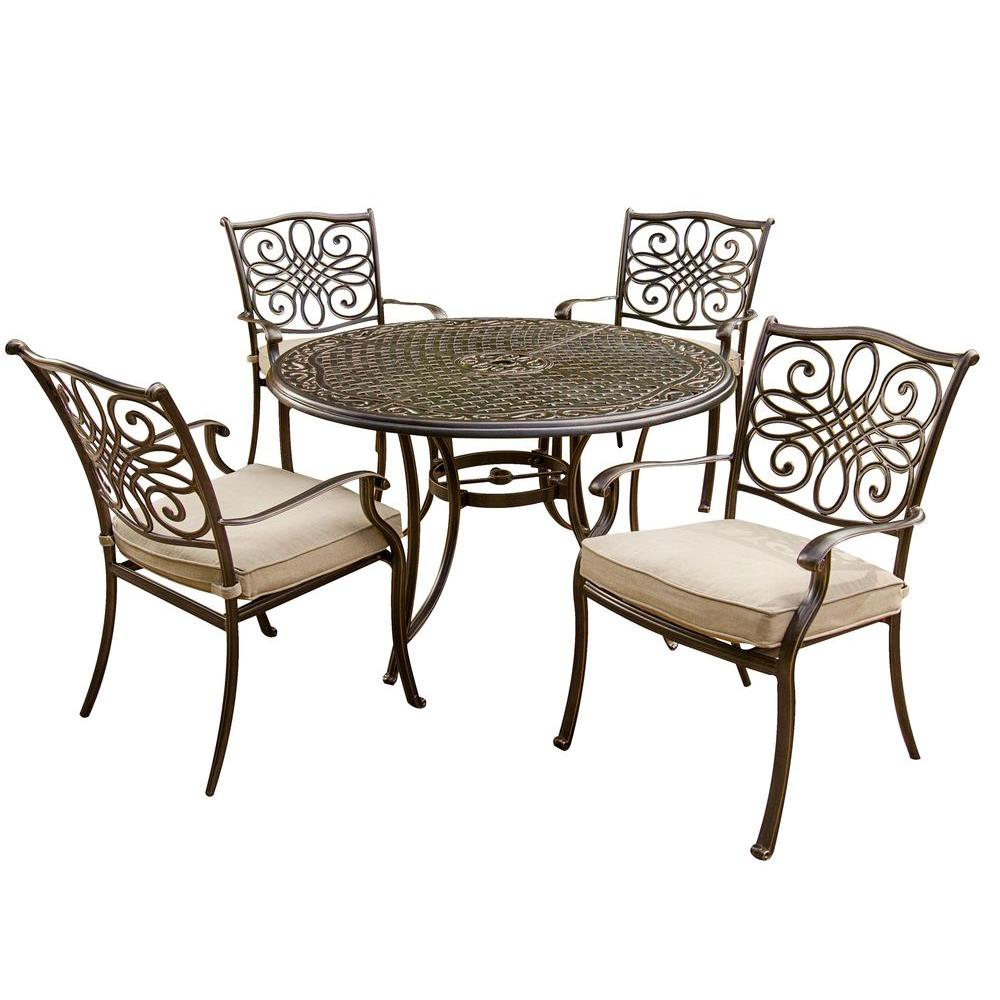 Hanover Traditions 5 Piece Patio Outdoor Dining Set With 4 Cast Aluminum Dining Chairs And 48 In