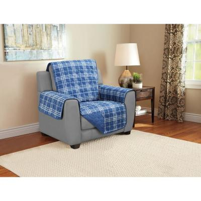 1-Piece Plaid Blue Microfiber Relaxed Fit Chair Furniture Protector