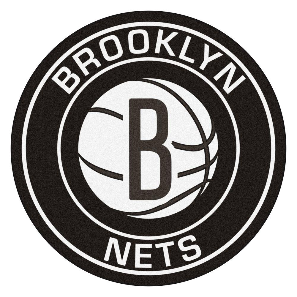 Fanmats Nba Brooklyn Nets Black 2 Ft X 2 Ft Round Area