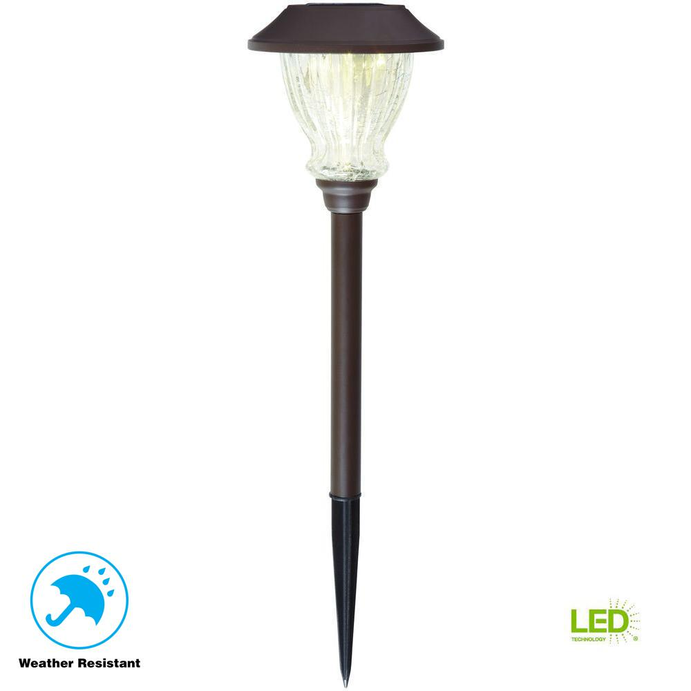 Solar Bronze Outdoor Integrated LED 3000K 10-Lumens Landscape Path Light with