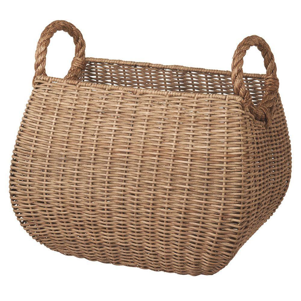 Filament Design Sundry 18 in. x 12 in. Rattan Decorative Basket