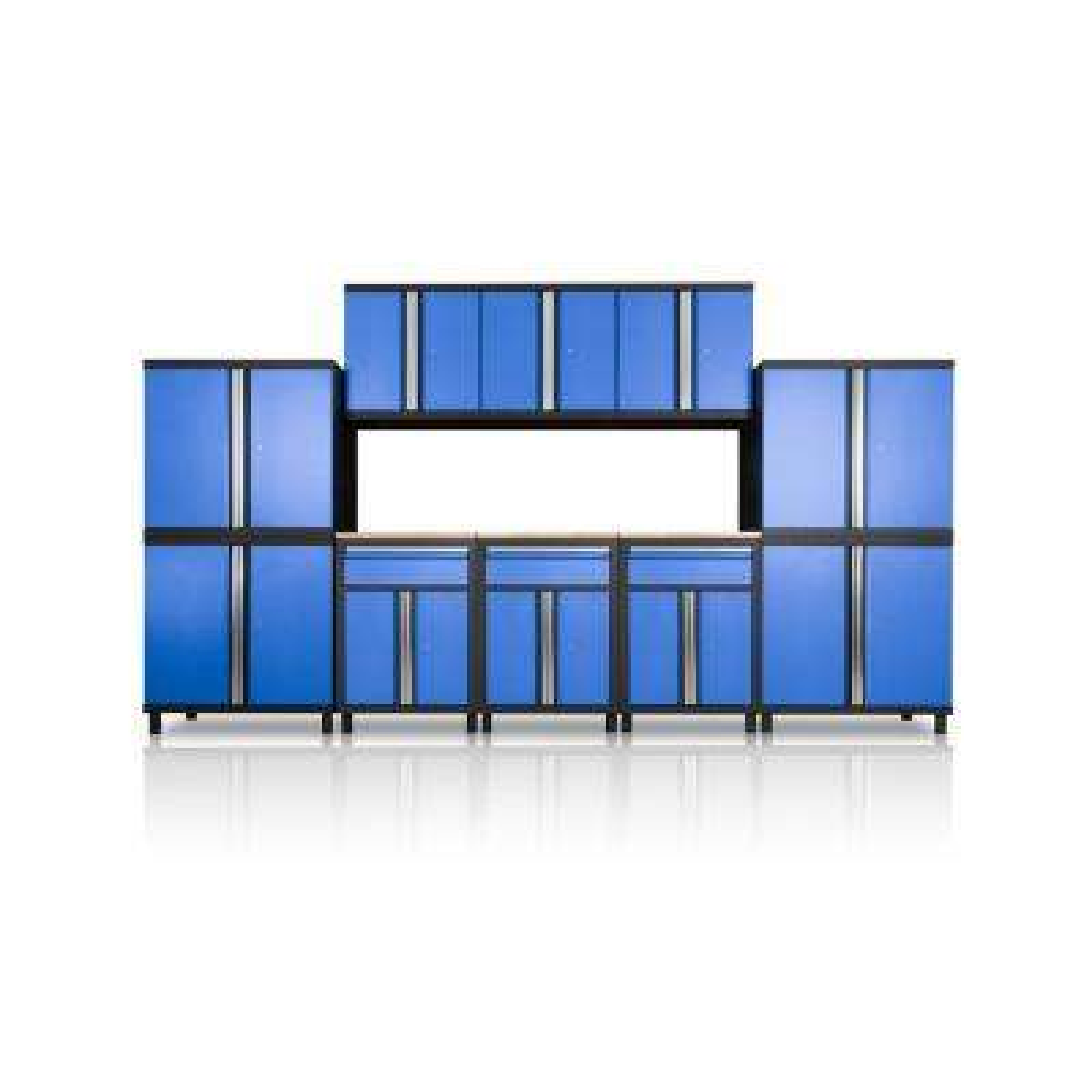 Pro Series III 81.1 in. H x 152.4 in. W x 18 in. D 23/24-Gauge Steel Wood Worktop Cabinet Set in Blue (10-Piece)