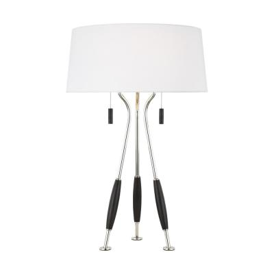 ED Ellen DeGeneres Crafted by Generation Lighting Arbur 26.625 in. Ebony Wood Table Lamp with White Linen Fabric Shade