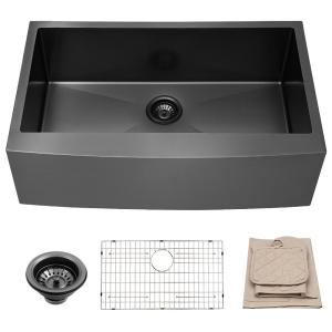 Gunmetal Black 16-Gauge Stainless Steel 30 in. Single Bowl Farmhouse Apron Workstation Kitchen Sink