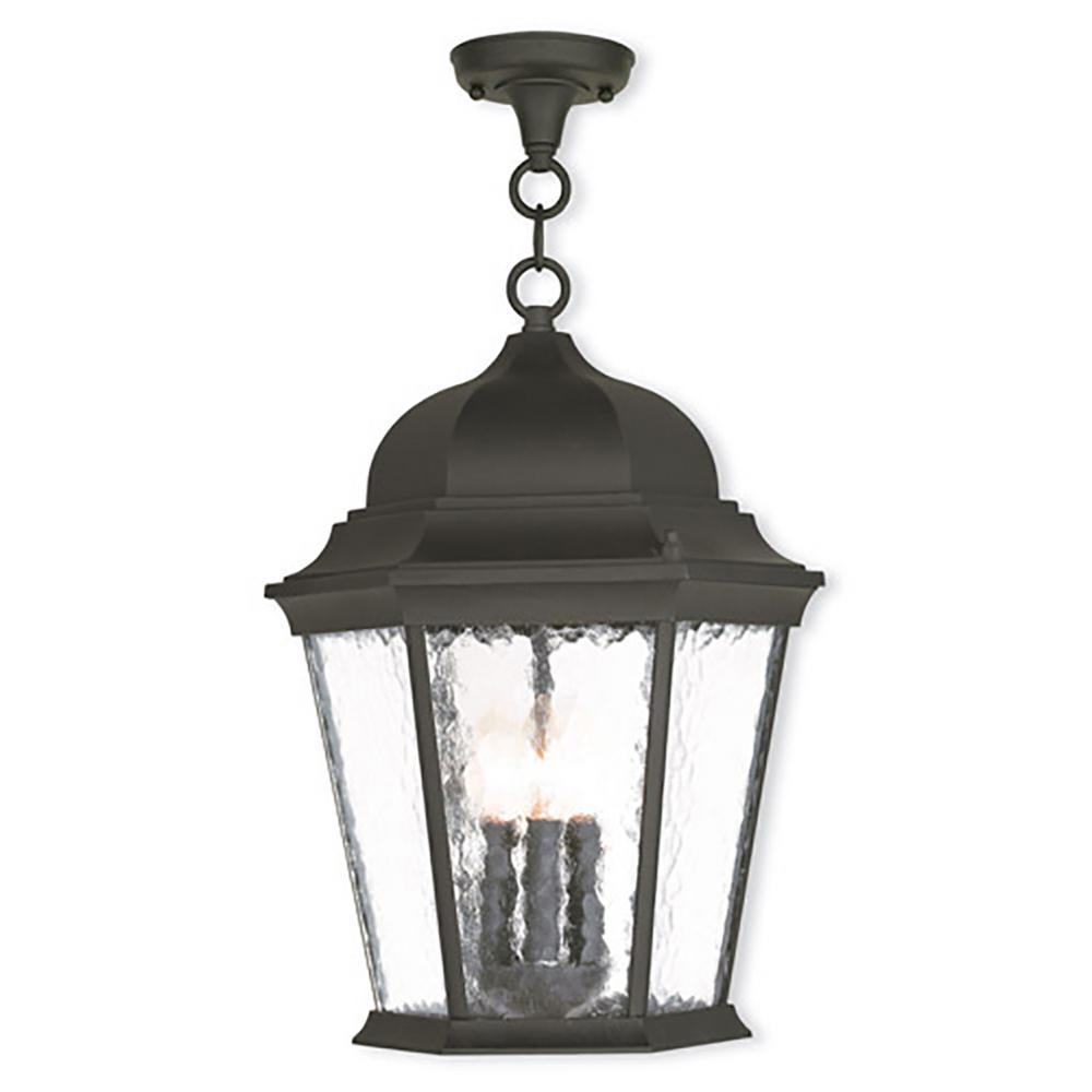 Oxford 3-Light Textured Black Outdoor Hanging Lantern