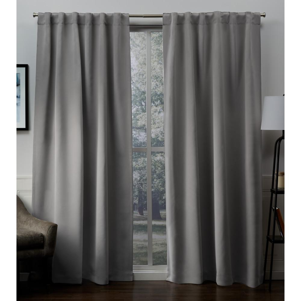 L Woven Blackout Hidden Tab Top Curtain Panel In Veridian Grey 2 Panels
