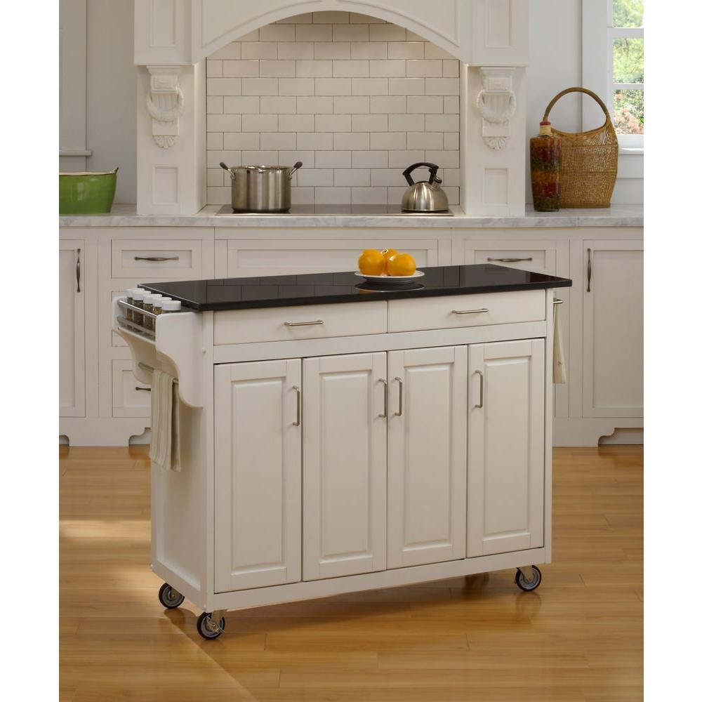 Beau Home Styles Create A Cart White Kitchen Cart With Black Granite Top