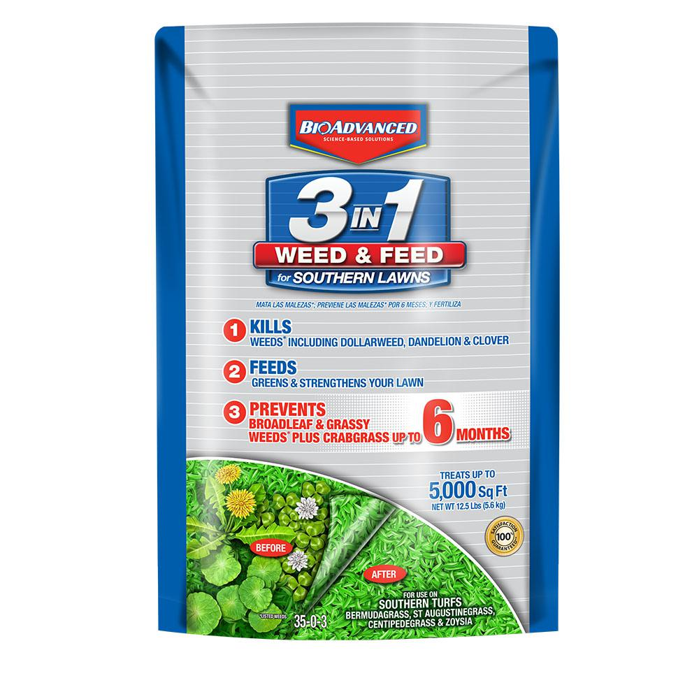 BioAdvanced 12.5 lb. 3-in-1 Weed and Feed for Southern Lawns