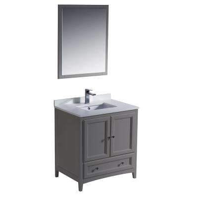 Warwick 30 in. Bathroom Vanity in Gray with Quartz Stone Vanity Top in White with White Basin and Mirror