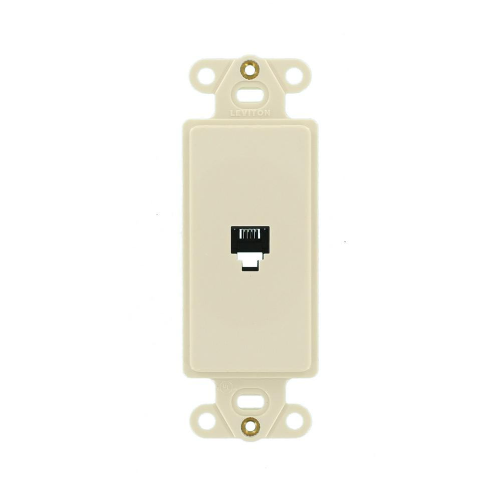 Leviton Phone Jack Wiring Ba58916 Reinvent Your Diagram Data Telephone Wall Light Almond 40253 T The Home Depot Rh Homedepot Com