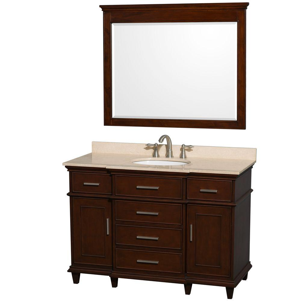 Berkeley 48 in. Vanity in Dark Chestnut with Marble Vanity Top