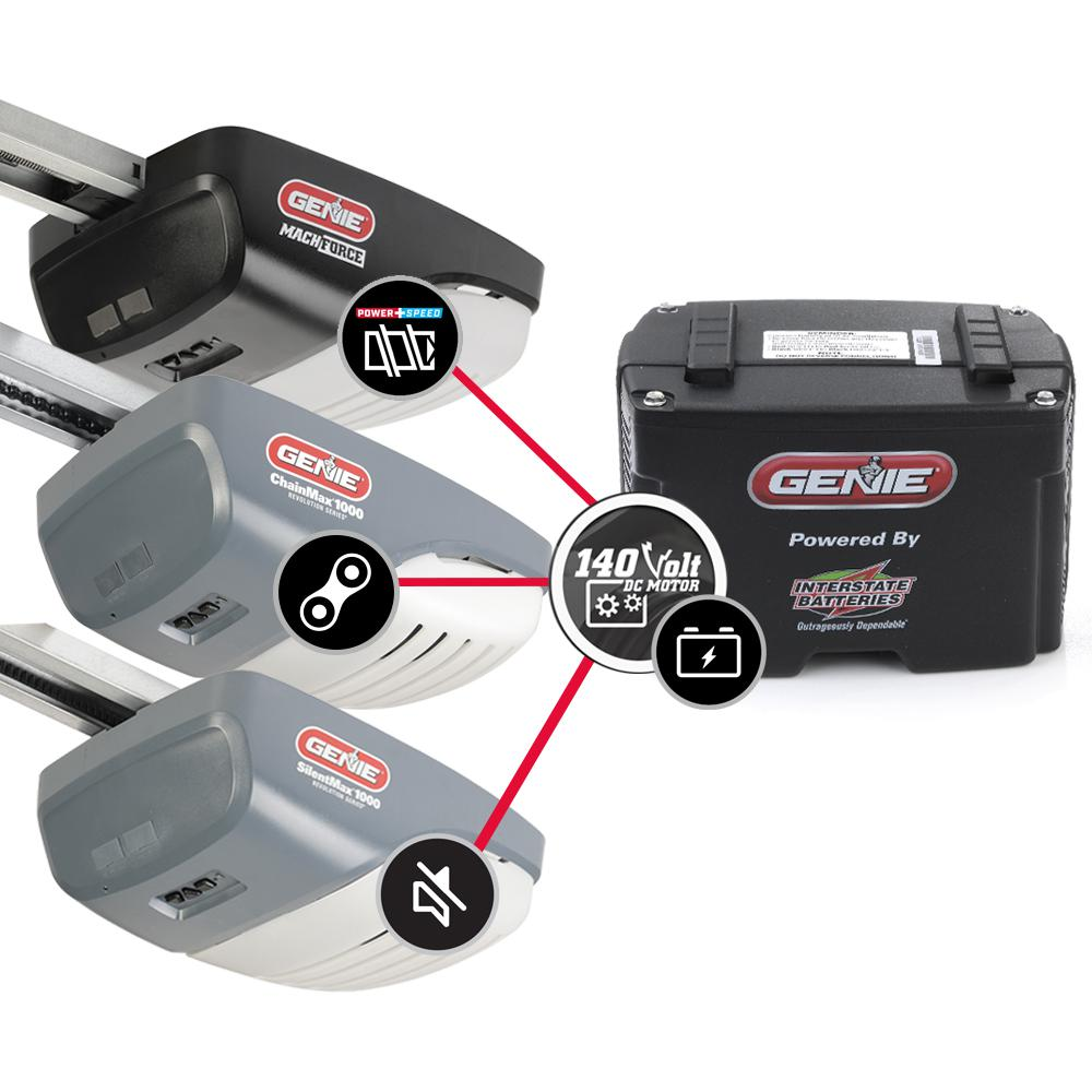 Genie Garage Door Opener Battery Back Up Add On Kit For 140v Systems 37228r The Home Depot