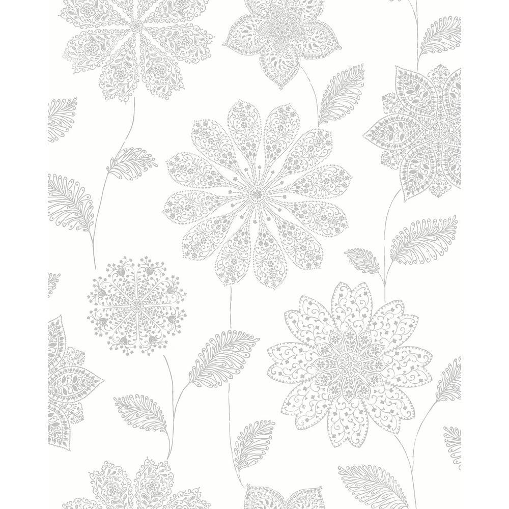 A-Street Panache Grey Floral Wallpaper Sample 2716-23850SAM