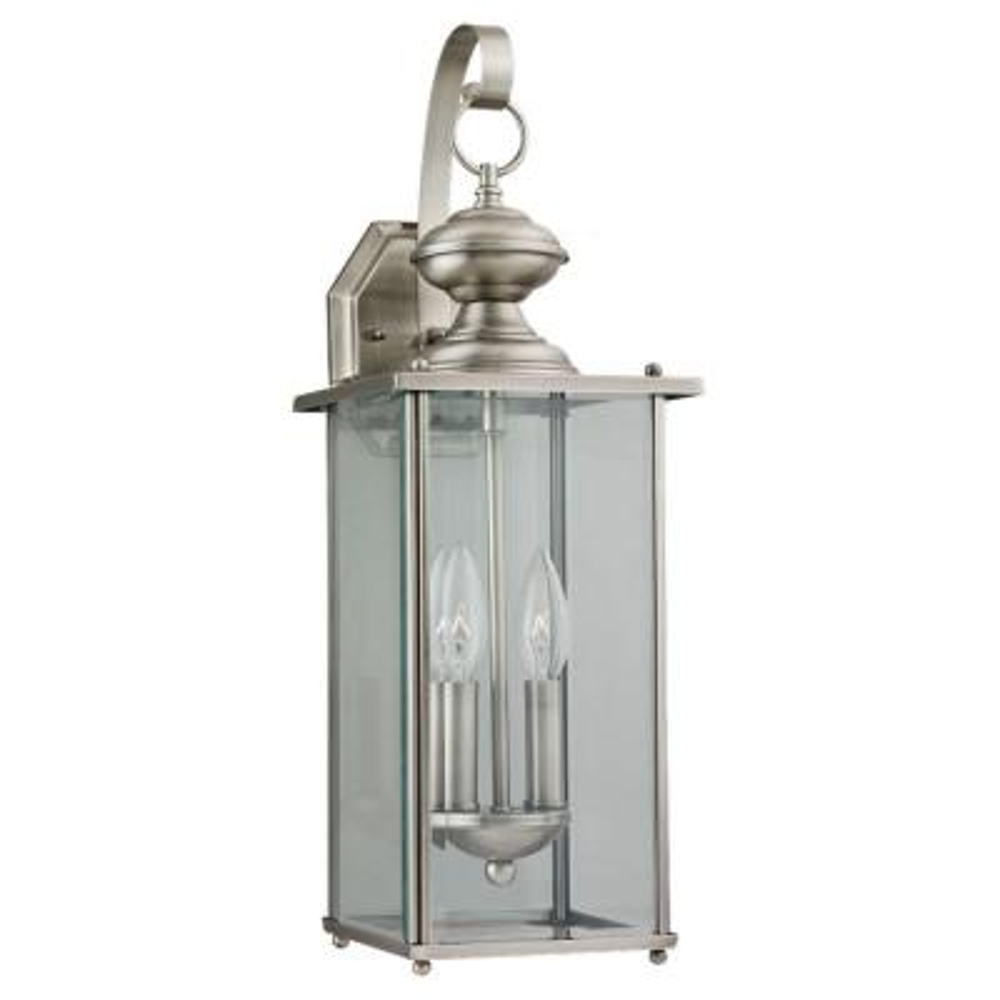 Jamestowne 2-Light Antique Brushed Nickel Outdoor Wall Lantern Sconce
