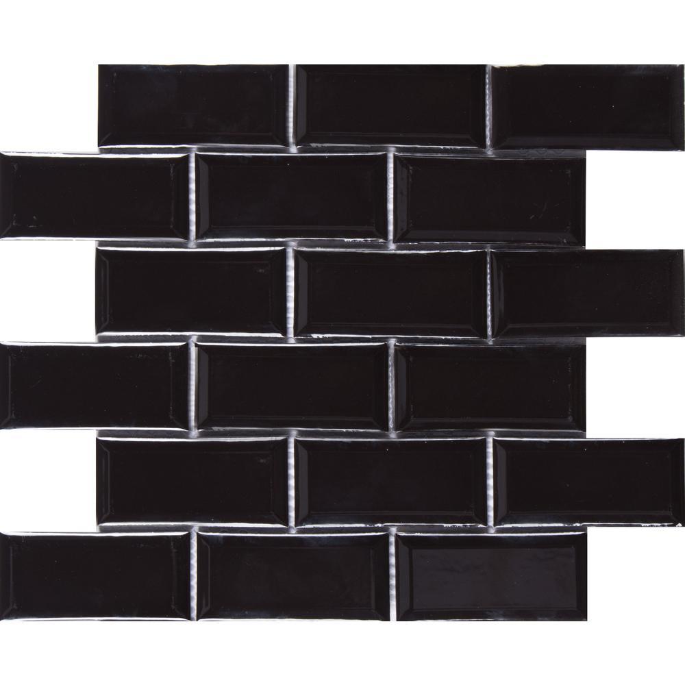 Midnight Black Bevel 11.22 in. x 11.47 in. x 6mm Glazed Ceramic Mesh-Mounted Mosaic Tile (13.35 sq. ft. / case)