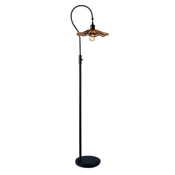 Burnt Sienna 70 in. Copper Bronze Floor/Torchiere Lamp with Hand Blown Art Glass Shade