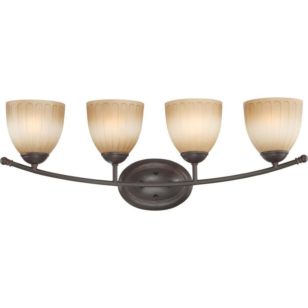 Glomar 4-Light Sudbury Bronze Vanity Fixture with Auburn Beige Glass