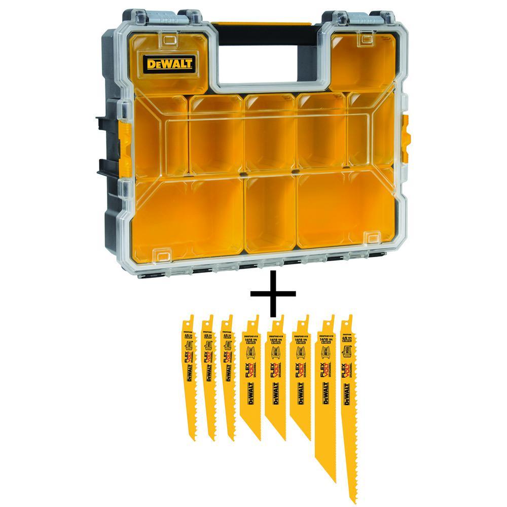 DEWALT FLEXVOLT Bi-Metal Reciprocating Saw Blade Set with 10-Compartment Deep Pro Small Parts Organizers (8-Piece)