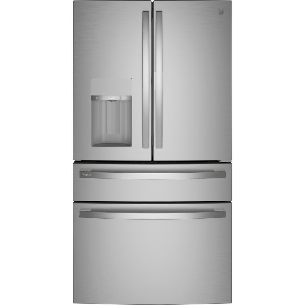 GE Profile 27.9 cu. ft. Smart 4-Door French Door Refrigerator with Door in Door in Fingerprint Resistant Stainless Steel-PVD28BYNFS - The Home Depot