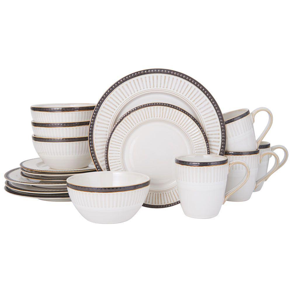 Promenade Column 16-Piece Casual Brown and Cream Stoneware Dinnerware Set (Set for 4)