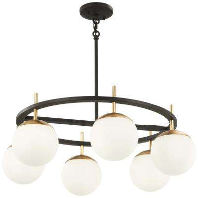 Alluria 6-Light Weathered Black with Autumn Gold Chandelier with Etched Opal Glass Shade