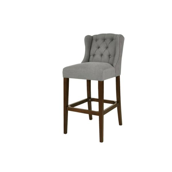 Belcrest Sable Brown Wood Upholstered Bar Stool with Back and Charleston Teal Seat (20.08 in. W x 44.09 in. H)