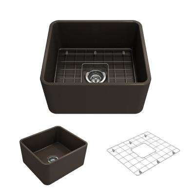 Classico Farmhouse Apron Front Fireclay 20 in. Single Bowl Kitchen Sink with Bottom Grid and Strainer in Matte Brown