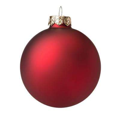 3.75 in. Red Matte Glass Christmas Ornament (8-Pack)