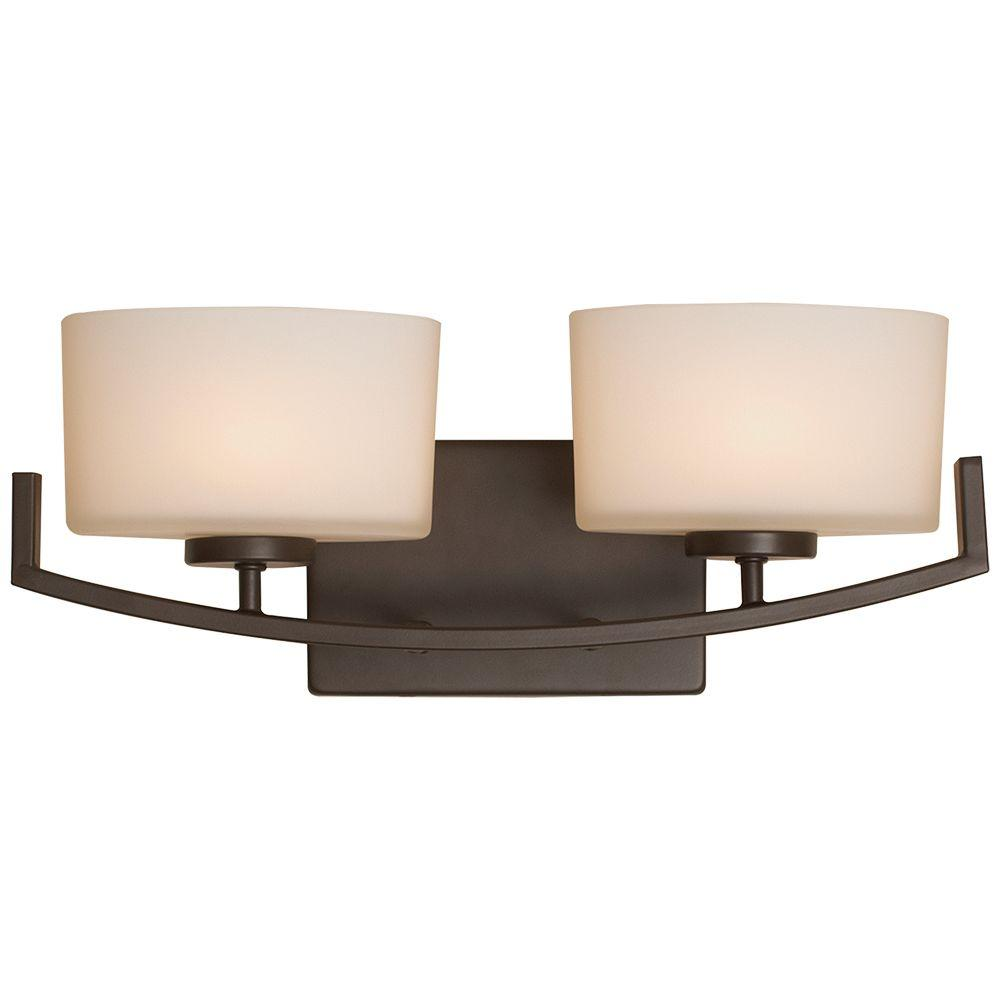 Hampton Bay Burye 2 Light Oil Rubbed Bronze Vanity Light With Etched White  Glass Shades 15322   The Home Depot