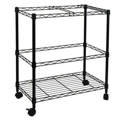 Portable 2-Tier Metal Rolling File Cart in Black