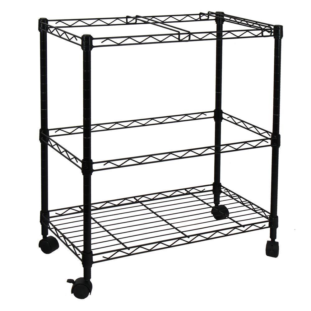 Portable 2-Tier Metal Rolling File Cart in Black