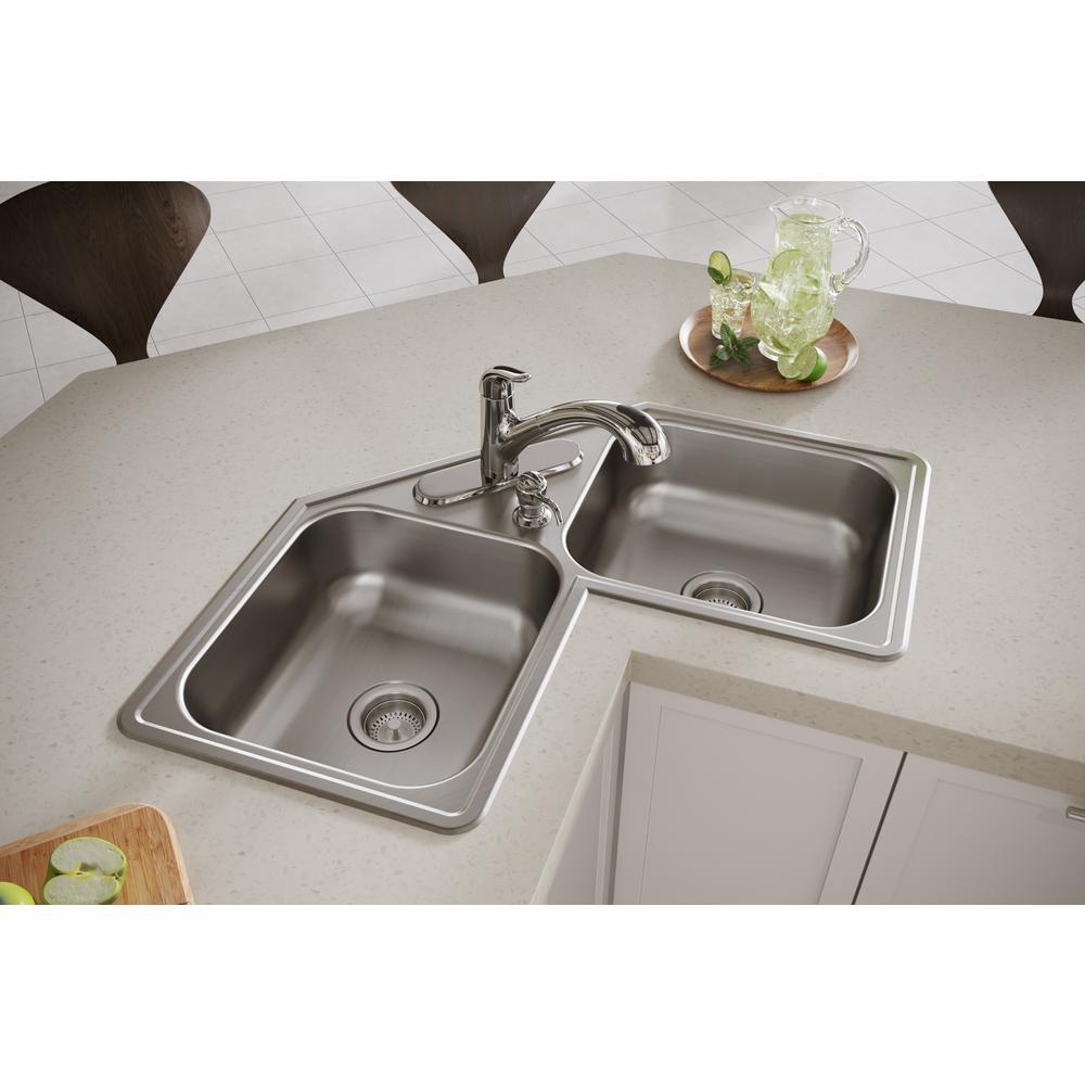Corner Double Bowl Kitchen Sinks Kitchen The Home Depot
