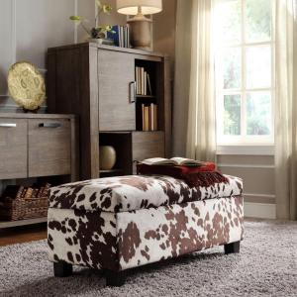 Putnam Textured Brown Cowhide Print Storage Bench