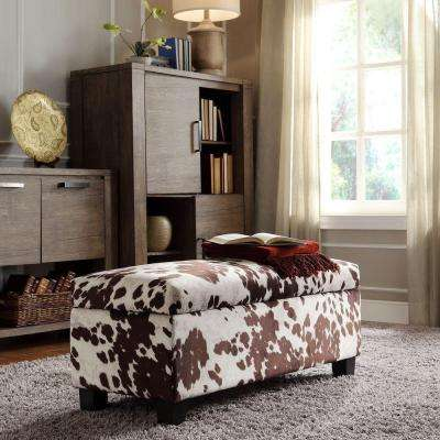 Putnam Textured Brown Cowhide Print Storage Bench