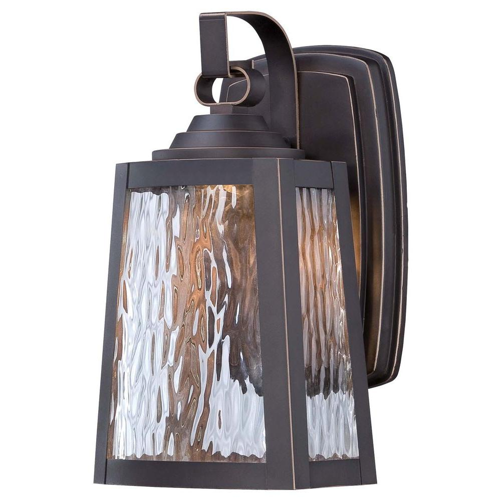 the great outdoors by Minka Lavery Talera 1-Light Oil Rubbed Bronze Integrated Wall Lantern Sconce with Gold Highlights