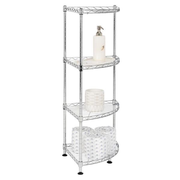 happimess Aleah Chrome 4-Tier Corner Storage Rack