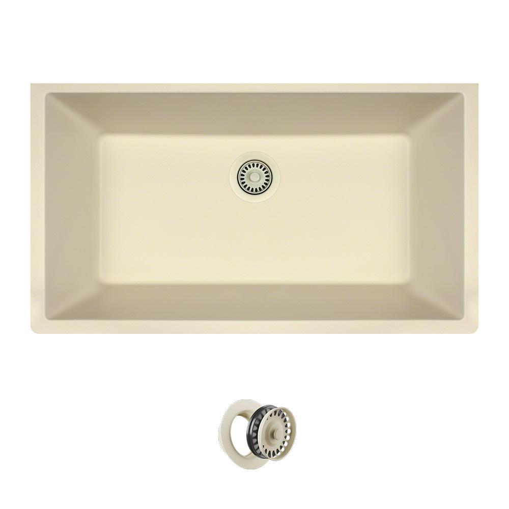 ae76ebc2cd5 All-in-One Undermount Quartz 32.625 in. 0-Hole Single Bowl Kitchen Sink in  Beige