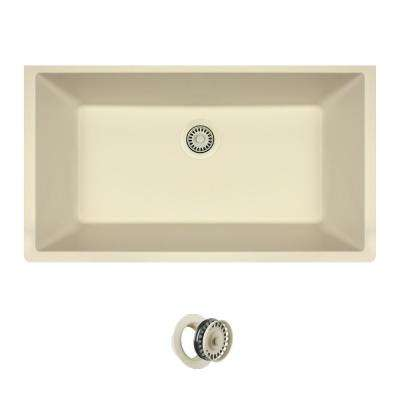 All-in-One Undermount Quartz 32.625 in. 0-Hole Single Bowl Kitchen Sink in Beige